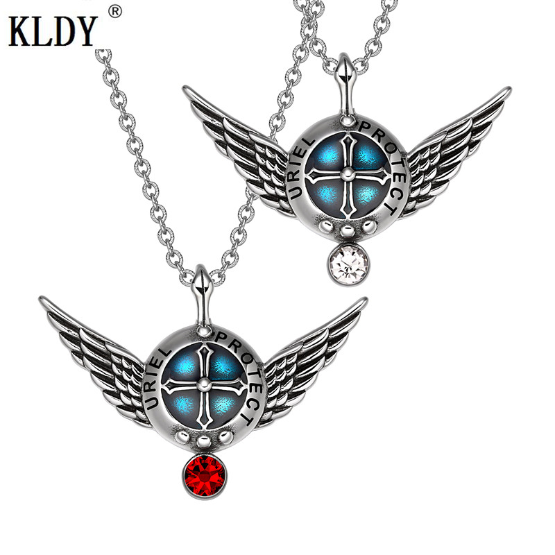 KLDY Love Couple Friendship Cherry Red White Pendant Necklace Stainless Steel Amulet Luck Charm Pendant Best Gift for Lovers men image