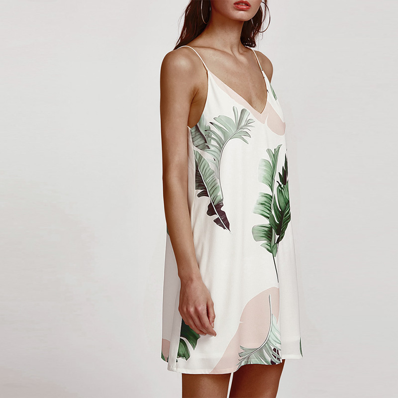 Sexy Club Chiffon Dresses Floral Loose Dress Deep V Neck White/Blue Printing Palm Leaves Backless Spaghetti Stripe Cami Dress 8