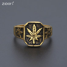 Men Stainless steel Ring Hip hop vintage Style Gold Color Black Oil Maple Leaf Weed Rings men hiphop Jewelry Size 8/9/10/11/12(China)