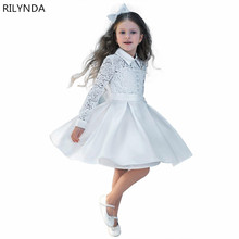 New Kid Girls Dress White ivory Children Princess Party Wedding Dresses With Bow for Summer Girls Clothes