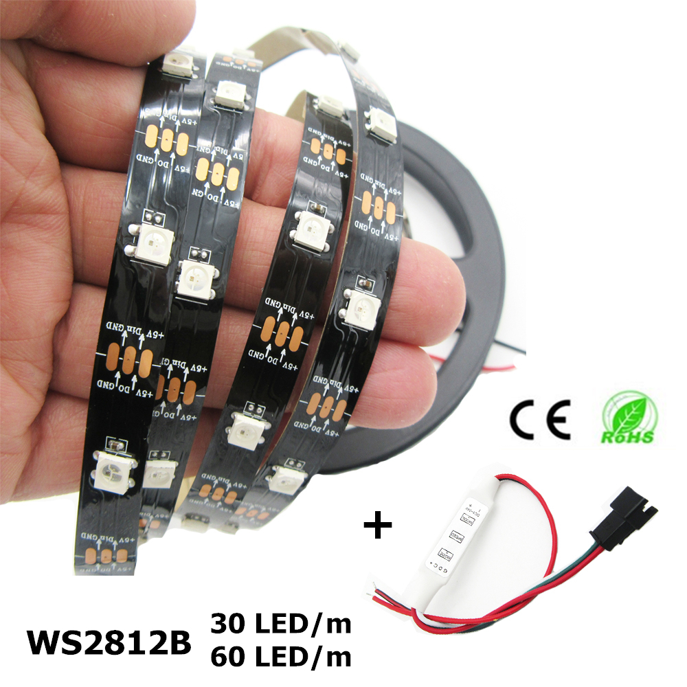 DC5V 1m/5m <font><b>WS2812B</b></font> 30LED 60LED/m 5050 RGB Dream Color <font><b>LED</b></font> Pixel <font><b>Strip</b></font> Black/White PCB WS2812 IC IP30/IP65/IP67 With Controller image