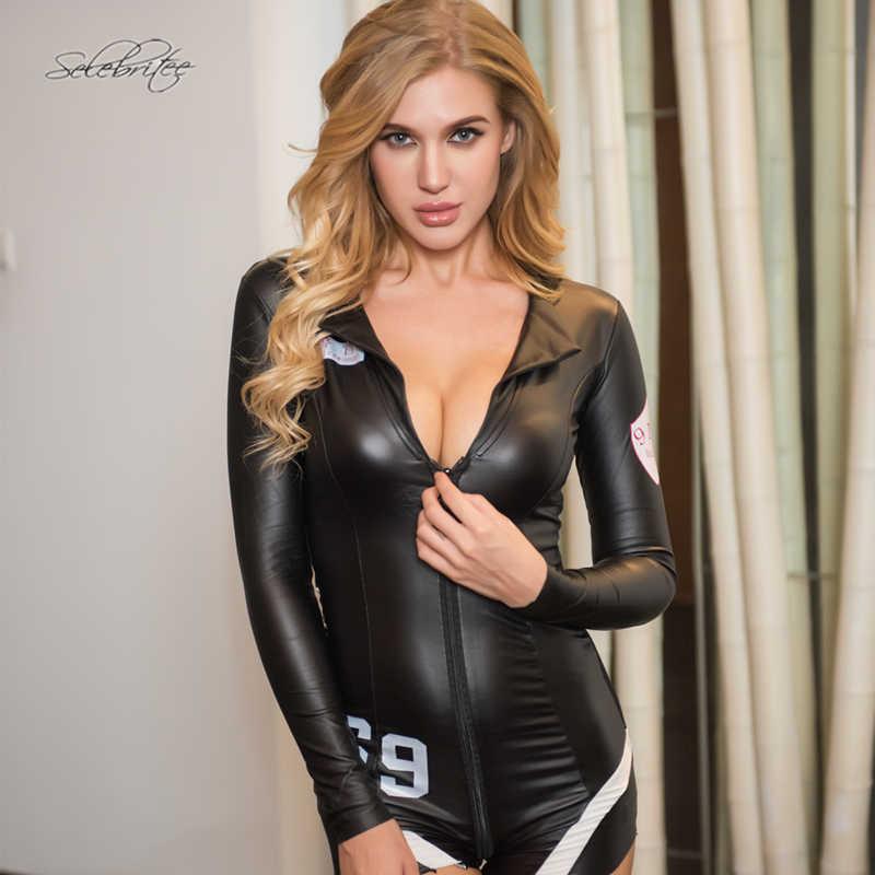 Selebritee Mulheres Manga Longa Romper Macacão Erótico Traje Uniforme Da Polícia Sexy Lingerie De Couro PU Hot Peluches Bodysuits Senhoras