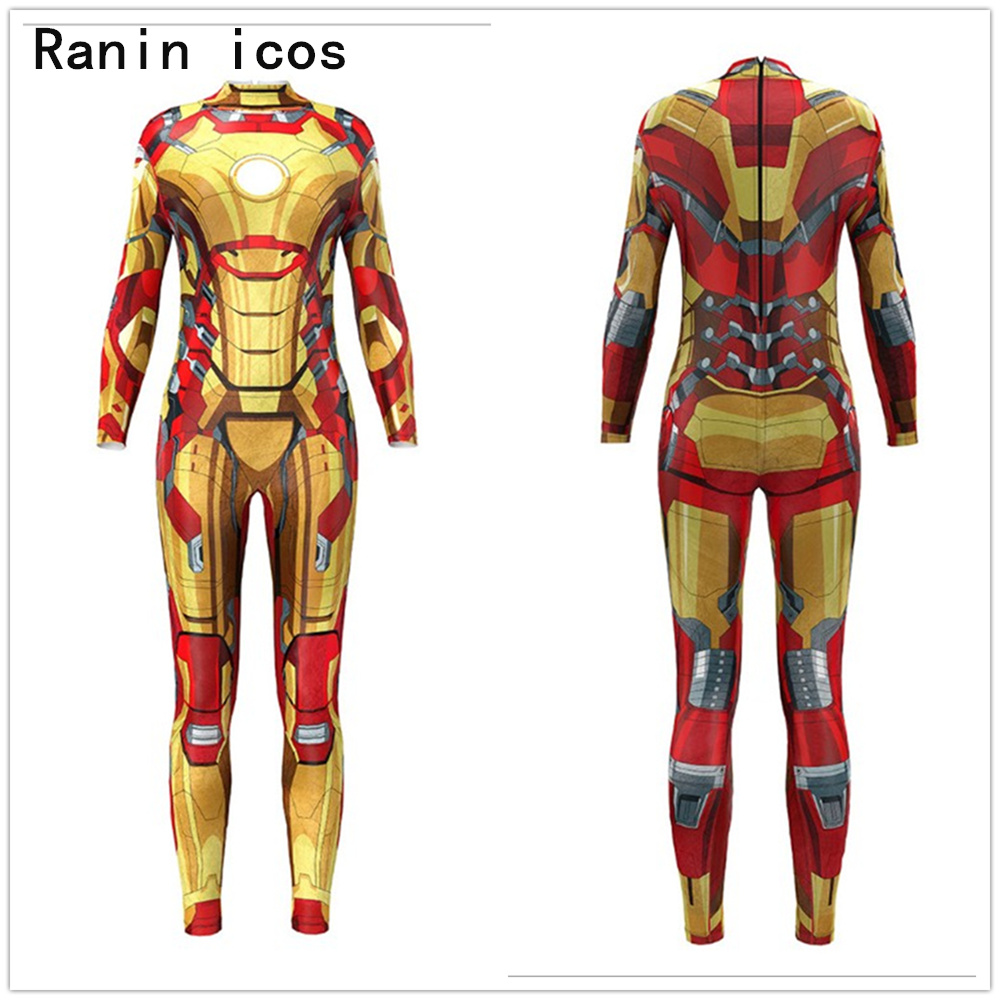 Iron Man Jumpsuit <font><b>Catsuit</b></font> <font><b>Sexy</b></font> Cosplay Costumes Superhero Halloween Women Spandex <font><b>Lycra</b></font> Bodysuit Fancy Dress image