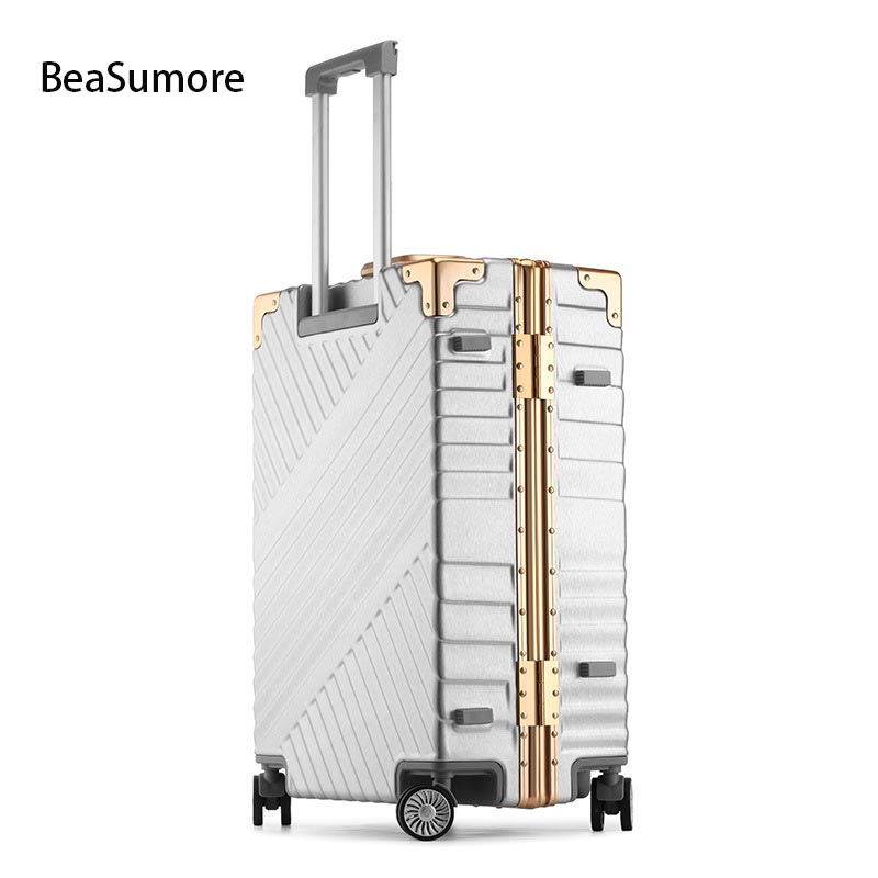 BeaSumore Fashion Aluminum Frame Rolling Luggage Spinner 20 Inch Cabin Suitcase Wheels Travel Bag Men Business Password Trolley