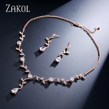 Zakol классической ленты Цвет/розовое золото Цвет кубического циркония подарок для Для женщин Ювелирные наборы с Элегантный Завод Bijoux FSSP233