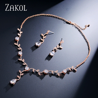 ZAKOL Inlaid Cubic Zircona Women Jewelry Sets Romantic Plant Shape White Rose Gold Plated For Solemn
