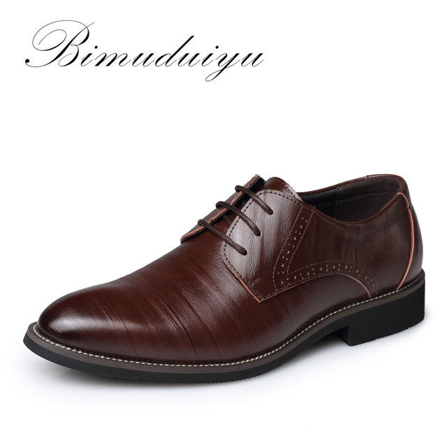 BIMUDUIYU High Quality Oxford Shoes Men Brogues Shoes Lace-Up Bullock Business Dress Shoes Male Formal Shoes Plus Size 38-48