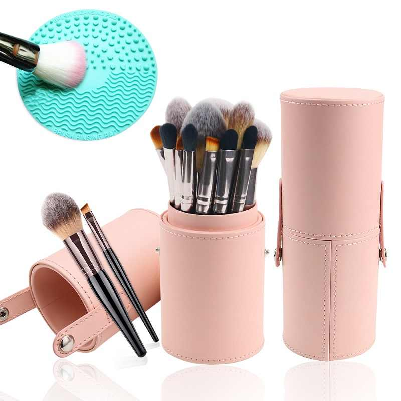 Pro 3pcs Set 12pcs Natural Makeup Brushes Powder Set with Storing Make Up Brushes Case Holder With Cosmetic Brush Cleaning Tools