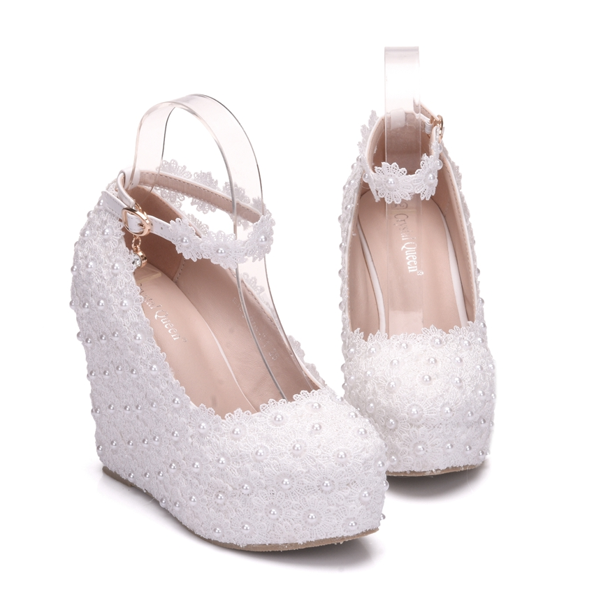 Crystal Queen White Wedges Wedding Pumps Sweet White Flower Lace Pearl  Platform Pump Shoes Bride Dress High Heels In Womenu0027s Pumps From Shoes On  ...