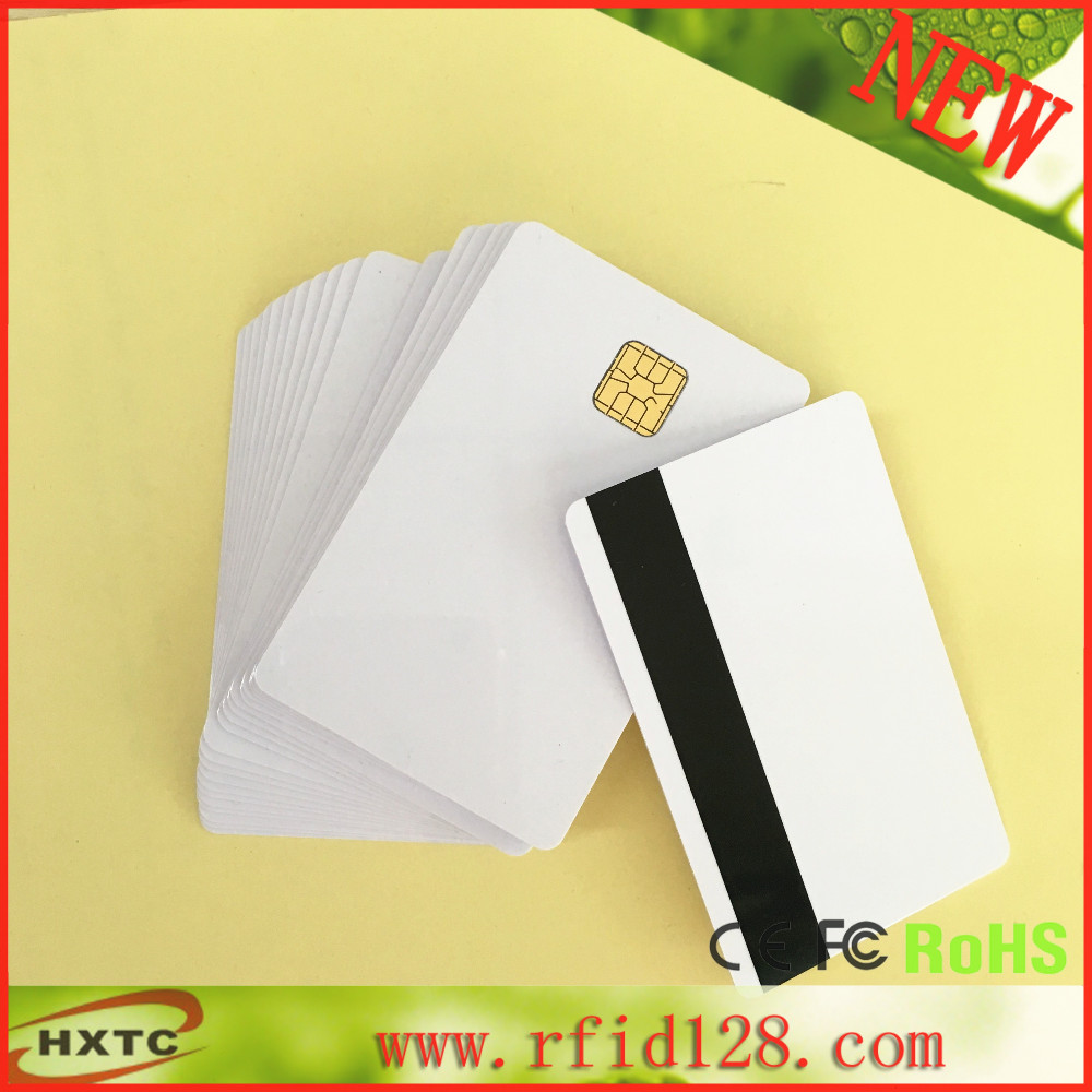 factory price 200PCS/Lot Contact PVC Blank Sle4428 Chip Smart IC  Card with 3track Hi-Co Magnetic Stripe 20pcs lot contact sle4428 chip gold card with magnetic stripe pvc blank smart card purchase card 1k memory free shipping