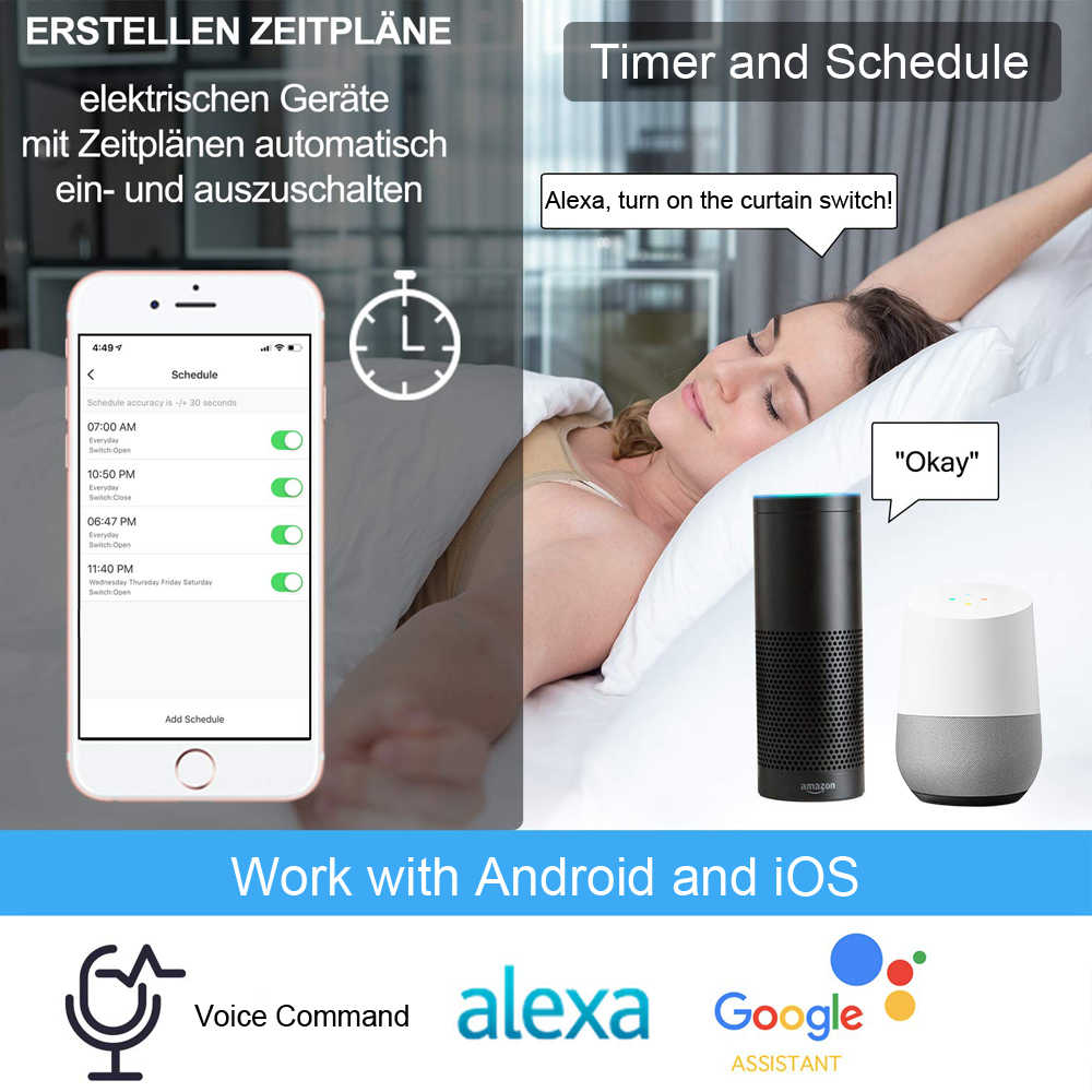 Дистанционное управление слепой затвор Tuya Smart Life EU WiFi занавес сенсорный переключатель Голосовое управление от Google Home Alexa эхо приложение таймер