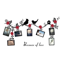 New 3D Sticker On The Wall Black Art Photo Frame Memory  Wall Stickers Home Decor Family Tree Wall Decal Birds Flower Vine