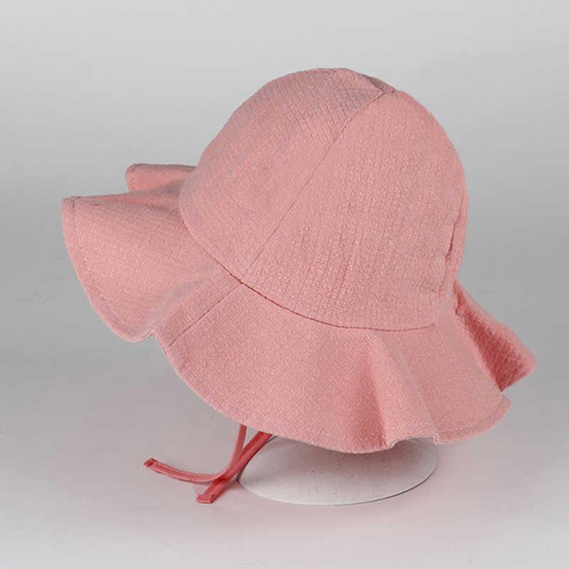 Bebé verano al aire libre cubo sombrero niños estampado Floral Panamá gorra sol playa Cap encantador encaje princesa bebé niña Brim sol sombreros