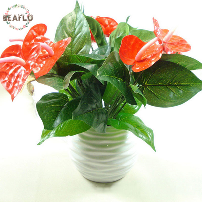 1Bunch Artificial Flower Fake Anthurium Bouquet Bonsai Bryllup Arrangement Christmas Home Decoration