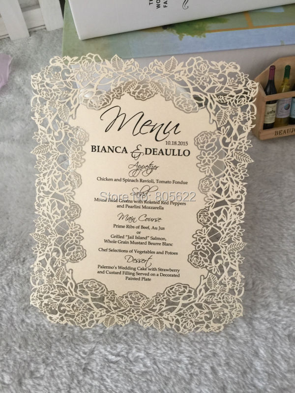 Rose lace design european wedding invitation cards with printing ...