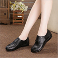 Women flats shoes 2017 new arrivals breathable genuine leather shoes moccasins women shoes hook and loop round toe flats