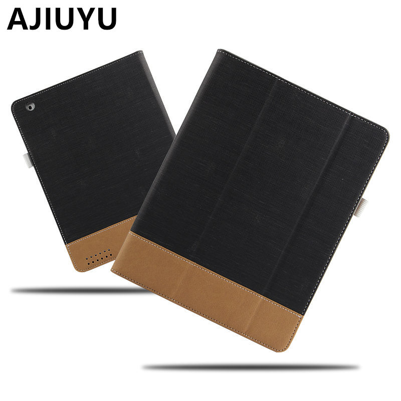 AJIUYU Case For Apple iPad 4 iPad3 iPad2 Protective Smart cover Protector Leather PU Tablet For iPad4 iPad 3 2 PU Cases 9.7 inch цепочка