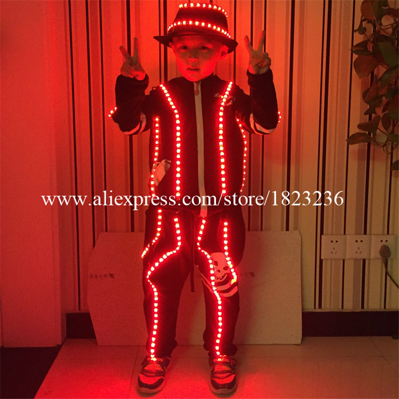 LED Luminous Children Robot Suit font b Clothing b font Illuminate Flashing Led Costumes Party Dress