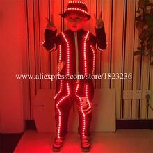 С подсветкой Детская робот костюм Костюмы осветить мигающий светодиод костюмы платье для детей подарок на день рождения