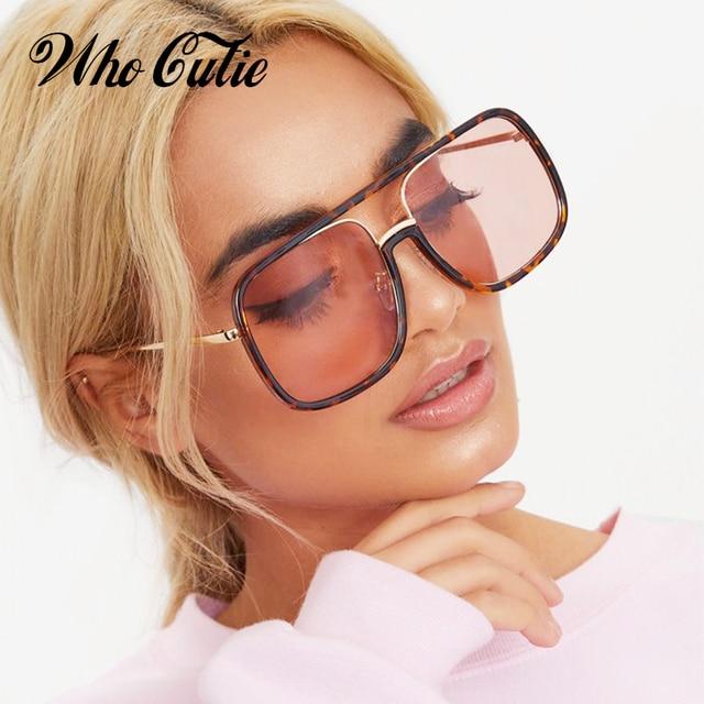 0e02da9c87 WHO CUTIE 2018 Oversized Square Sunglasses Women Brand Designer Fashion  CRYSTAL Big Frame Lady Flat Top Sun Glasses Shades OM441