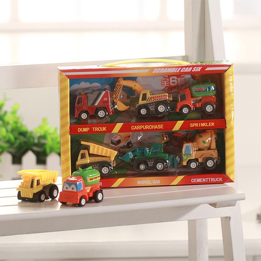 LeadingStar 6pcs/lot Mini Pull Back Car Toys Children Racing Cartoon Car Bus Truck Kids Toys Gifts Random Style