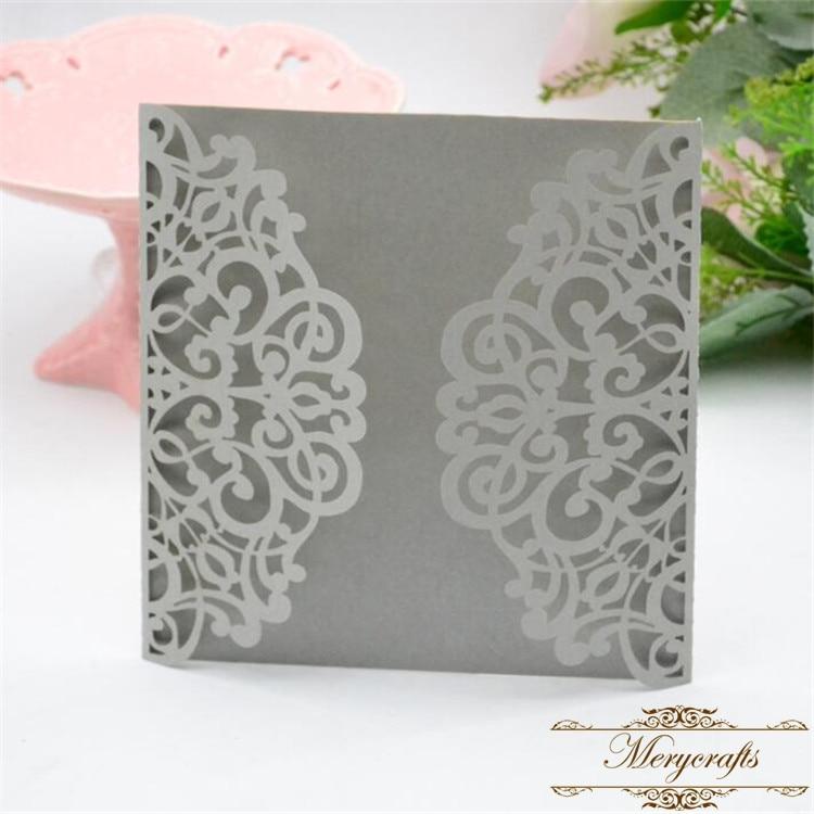 Light silver pearl 15cm laser cut wedding invitations philippines ...