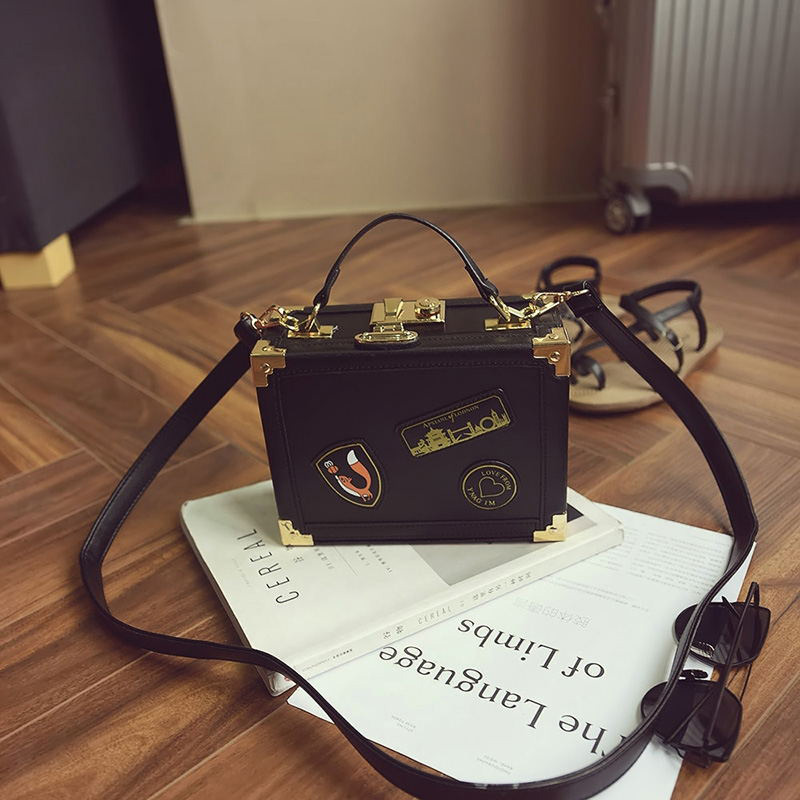 2016 New European And American Fashion Box Shoulder Bag Messenger Bag Lock Small Square Bag Handbag SS0234 velvet bagthe european and american fashion small package pure color lock one shoulder inclined shoulder women2018messenger bag