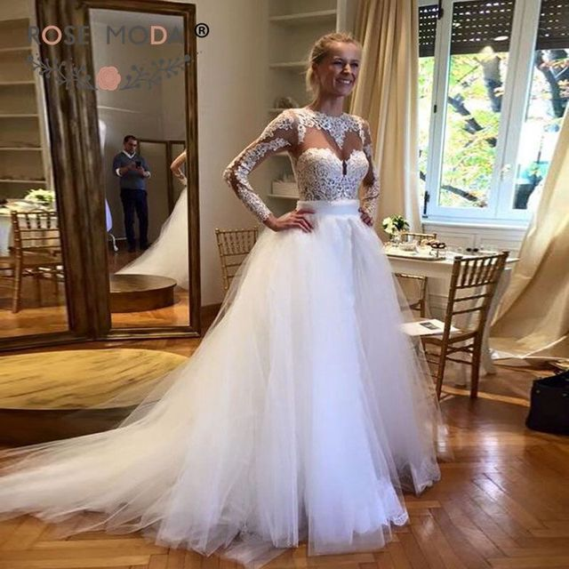 Sheer O Neck Long Lace Sleeves Sheath Wedding Dress With Removable Tulle Skirt Cut Out Back