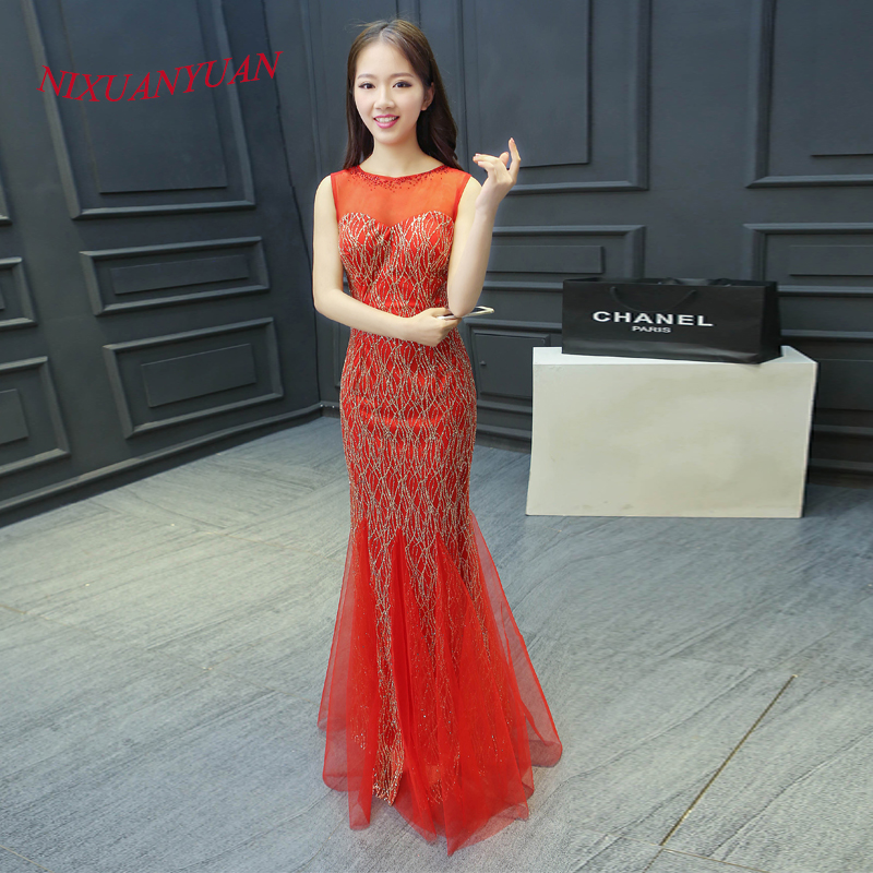 2016 New Arrived Elegant Beaded Party Gown Red Sequin Mermaid   Prom     Dress   2016 O Neck Floor Length Gown Sexy vestidos de baile
