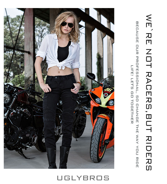 Newest Cool Uglybros MOTORPOOL UBS06 Black Riding a motorcycle jeans trousers girl pants motor jeans women jeans