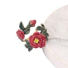 Сочный виноград, ручная роспись, эмалированное кольцо, ювелирные изделия, красный цветок, зубец, открытый, регулируемое, модное кольцо на палец, модный, горячая распродажа