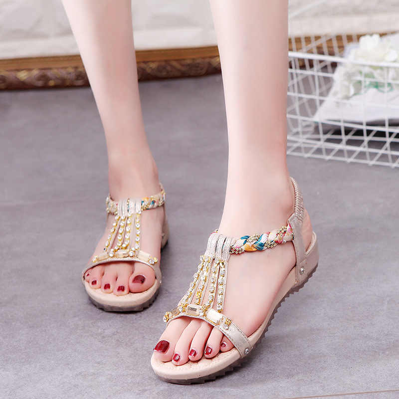 c8290c490fbe ... Woman Sandals Shoes 2018 Summer Style Peep Toe Slides Elastic band  Fashion Bohemia Platform Wedge Crystal ...