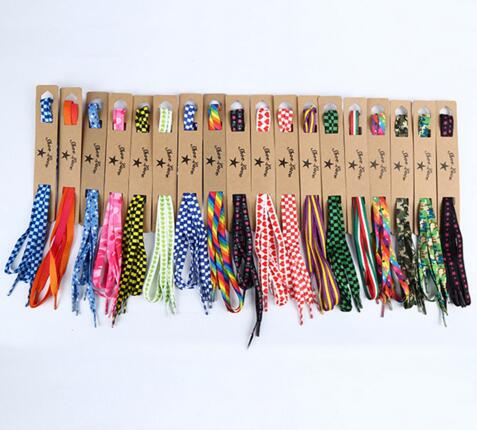 New Fashion 115cm/45'' Colorful Double Printing Check Star Skull Flast Shoelaces Children Adult Sneakers Shoelace Free Shipping