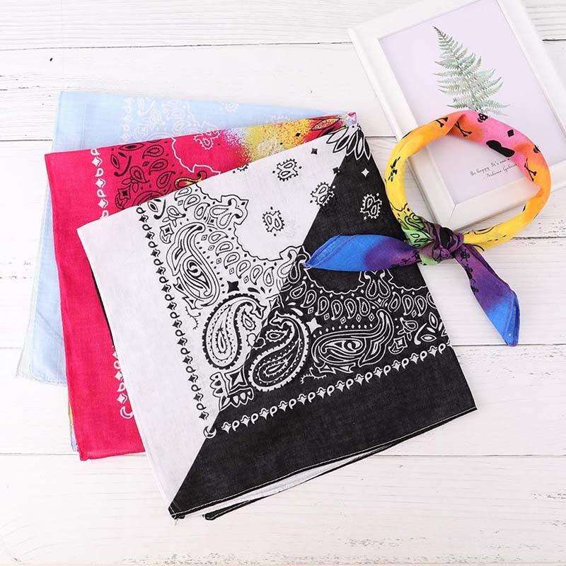 Hip-Hop-Bandanas Scarves Wristband Pocket-Towel Head-Scarf Cotton-Blend Vintage Male