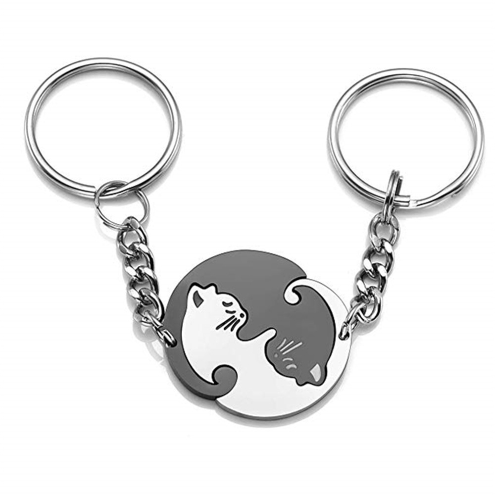 Couple Keychain Lover Keyring Gifts For Husband Boyfriend Girlfriend Wife Valentines Day Gifts White & Black Cat Key Ring Chai N