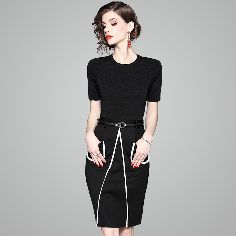 elegant work Pencil Dress Cotton 2018 NEW office Knitted short sleeves Patchwork dresses women ladies Knee-Length party dress