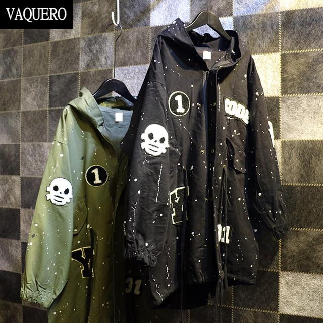 Hooded Trench Coat For Women Harajuku Style Flocking Embroidery Long Punk Paints Windbreaker Patch Women Coat Army Green Black