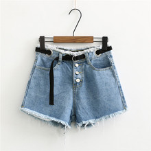 Summer New Europe America Thin Fringe Wide Leg Hot shorts Female, Wild Bangle High Waist Belted Denim Shorts Female self belted wide leg shorts