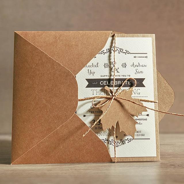 5x7 Rustic Wedding Invitations, Unique Wedding Cards with Invitation