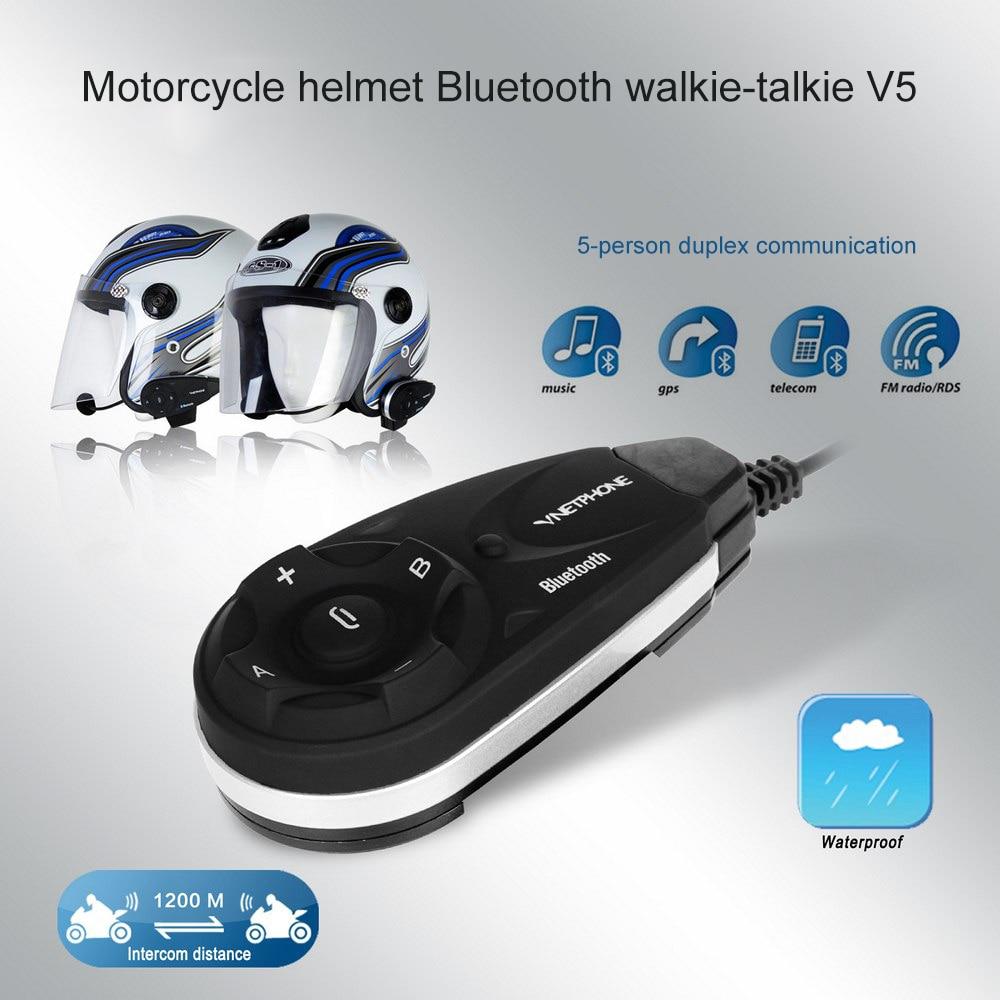 Motorcycle Helmet Walkie-talkie V5 Bluetooth Stereo Headset Large Capacity Battery Waterproof Full Duplex With FM Walkie-talkie