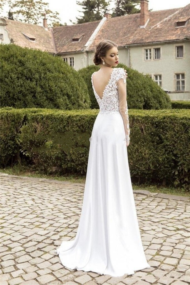 Chiffon And Lace Wedding Gown - Wedding Dress Ideas