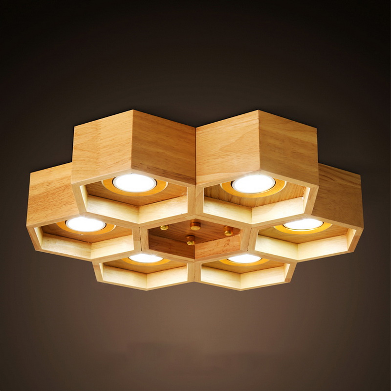 купить Nordic Modern Simple Wood Dining Room Cellular LED Ceiling Lamps Creative Kitchen Wooden Bedroom Ceiling Lights Free Shipping по цене 10063.63 рублей