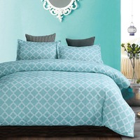 Home Textile Duvet Cover Geometric abstract flower lattice 2/3pcs British Style Family student dormitory Quilt cover pillowcase