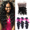 Peruvian Virgin Hair With Frontal Closure Pre Plucked Lace Frontal Weave Loose Wave Curly 360 Lace Frontal Closure With Bundles