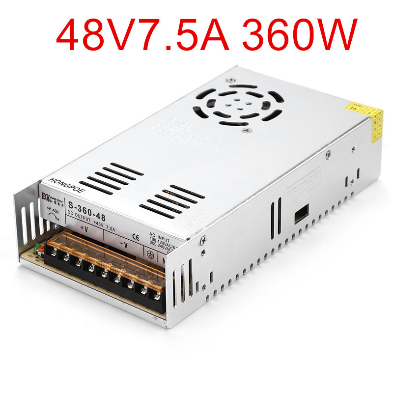 36PCS Best quality 48V 7.5A 360W Switching Power Supply Driver for LED Strip AC 100-240V Input to DC 48V7.5A 36pcs best quality 36v 10a 360w switching power supply driver for led strip ac 100 240v input to dc 36v10a