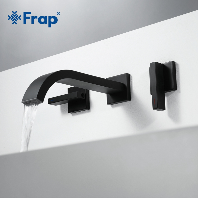 Frap Basin Faucets Wall Mounted Brass Bathroom Sink Basin Mixer Tap Dual Handle Black Bathroom and