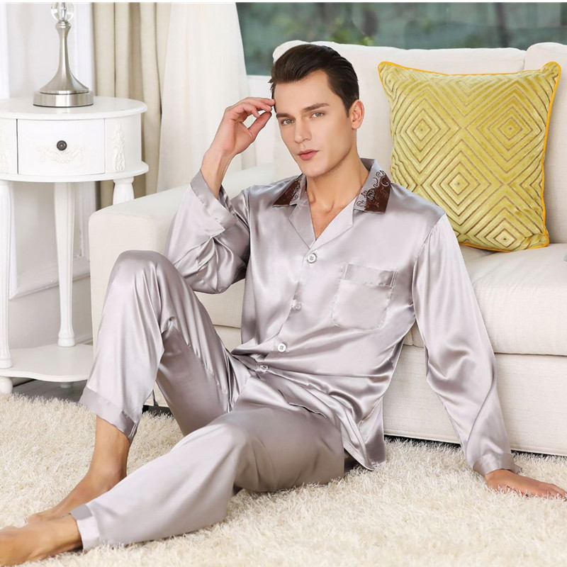 2019 Hot Sale High Quality Mens Silk Satin Pajama Set Luxury Long Sleeve Nightwear Suit Print Pajamas Home Service Mens Clothes