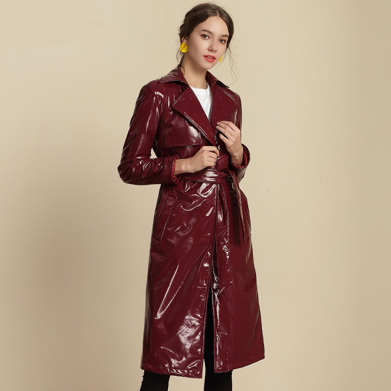Fashion brand Glossy patent   leather   jackets pu   leather   jacket female street style was thin long   leather   jacket wq538 dropship