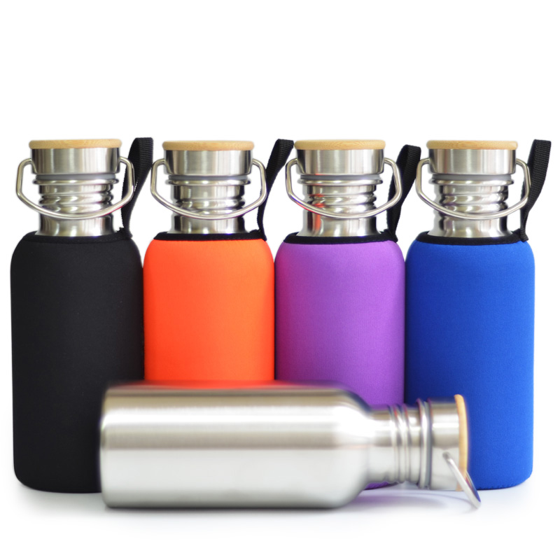 Brushed Stainless Steel Water Bottle Sports Flask Bamboo Lid with Sleeve for Hiking Cycling Fishing Yoga GYM 500mL 17Oz