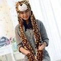 Мультфильм Животных Тигр/leopard/кошка Плюшевые Теплый hat Cap с Длинный Шарф Перчатки Моды Милые женщины мужчины Дети Мягкая зима cap